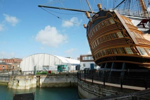 A view of the current tented home of the Mary Rose in Portsmouth