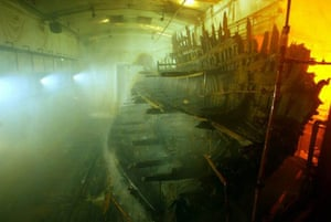 The Mary Rose sits in an atmospherically controlled dry dock
