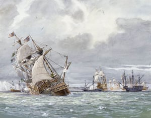 An oil painting of the sinking of the Mary Rose