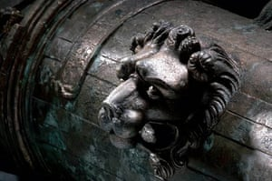 A lion's head adorns the side of a bronze cannon, salvaged from Mary Rose