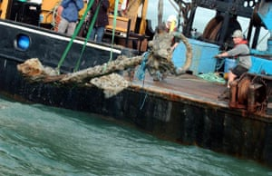 The anchor from the Mary Rose is lifted from the sea