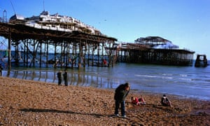 Brighton, UK: West Pier a week after being severely damaged by fire