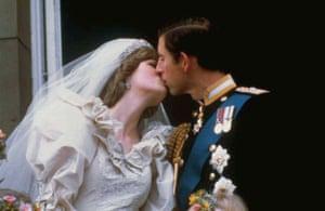 Prince Charles kisses Princess Diana