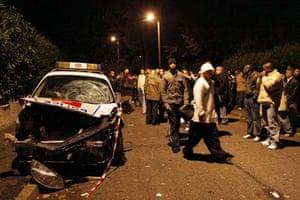 A wrecked police car