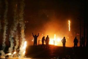 Police with tear gas