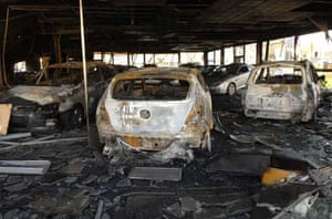 Burnt out cars