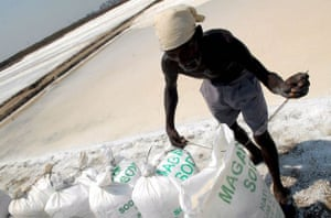 An Indian worker stiches bags containing salt at a salt pan in Mumbai India