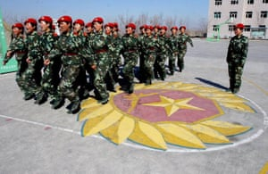 An all female special police unit are seen during a drill in China