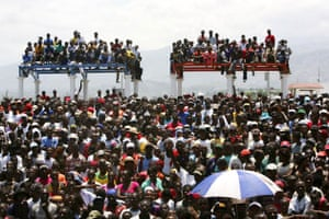 World food crisis Haiti.  People gather at the Cite Soleil slum during an anti-government demonstration