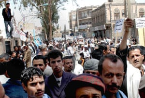 World food crisis. Yemen people protesting against high food prices