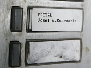 Nameplate of the Fritzl home in Amstetten