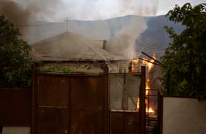 burning house Tskhinvali