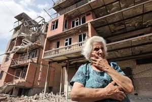 Georgian woman cries