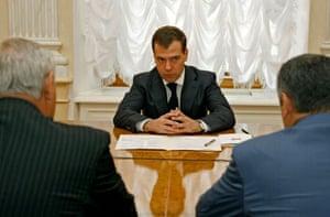 Medvedev meets Eduard Kokoity and Sergei Bagapsh