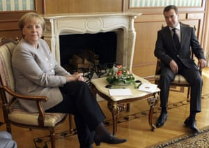 Sochi, Russia: Russian President Dmitry Medvedev meets with German Chancellor Angela Merkel at his residence