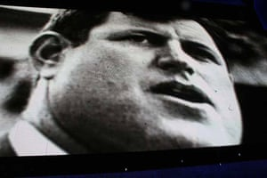 Edward Kennedy on a screen