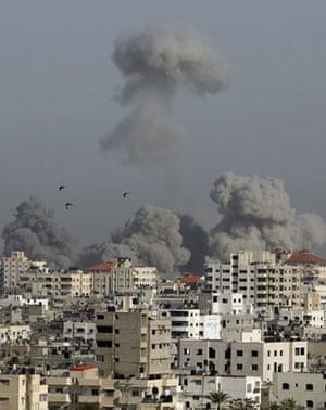 Smoke rises after an Israeli air strike in Gaza