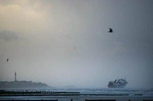 Waves hit the stricken ferry Riverdance