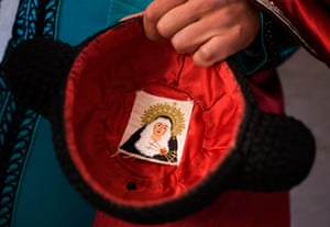 Pamplona, Spain: A matador's hat or montera decorated with an image of the Virgin. The town's annual San Fermin festival attracts tens of thousands of visitors for nine days of revelry. Photograph: Daniel Ochoa de Olza/AP