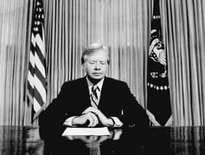 April 25 1980, Washington, US: President Jimmy Carter prepares to address the American people on nationwide television