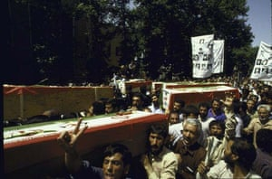 July 1 1988, Iranian mourners attending an anti-US demonstration after the USS Vincennes accidentally shot down an Iranian airbus
