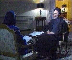 January 8 1998, Tehran, Iran: CNN correspondent Christianne Amanpour interviews president Mohammad Khatami