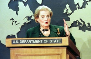 March 17 2000, Washington, US: Secretary of State Madeleine Albright talks about the United States' decision to lift a US ban on imports of Iranian luxury goods and to try to settle outstanding legal claims between the two countries