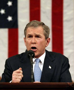 January 29 2002, Washington, US: President George Bush delivers his State of the Union address during which he describes Iran, Iraq and North Korea as an 'axis of evil'