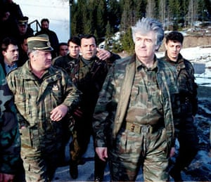 April 1995, Vlasic mountain, Bosnia: Radovan Karadzic and his general Ratko Mladic