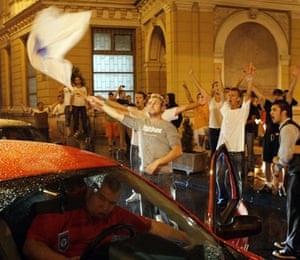 July 2008, Sarajevo, Bosnia: Residents celebrate in the streets after hearing the news of Radovan Karadzic's arrest in Belgrade