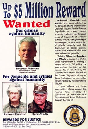 March 2002: A wanted poster for Slobodan Milosevic, Radovan Karadzic and Ratko Mladic released by the State Department