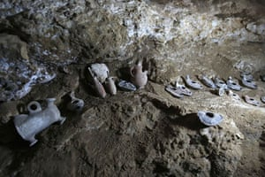 Pottery found inside the cave under the oldest church in the world in the town of Rehab