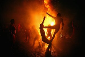 Members of the Beltane Fire Society celebrate the coming of summer by participating in the Beltane Fire Festival on Calton Hill