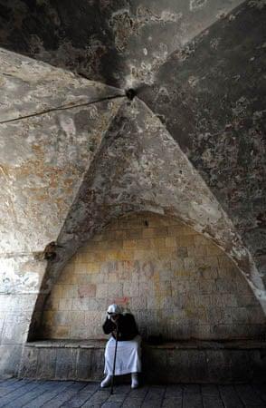 Jerusalem: An elderly Palestinian man in the Old City