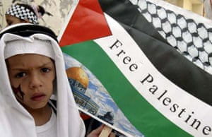 A child waves a Palestinian flag