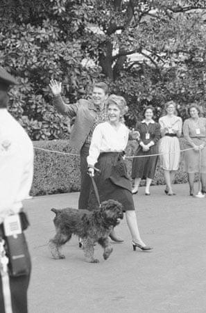 1985: President Ronald Reagan and Nancy Reagan walk toward the White House with their dog Lucky