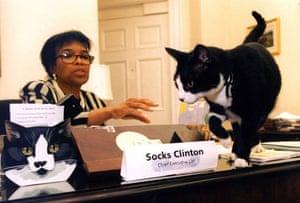 1996: President Bill Clinton's cat Socks with presidential secretary Betty Currie