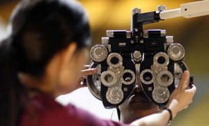 A patient undergoes an eye exam