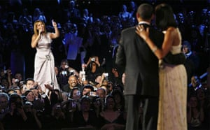 Beyonce sings to President Barack Obama and first lady Michelle during their first dance of the evening at the Neighborhood Inaugural Ball in Washington