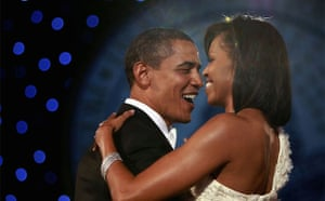 US President Barack Obama and first lady Michelle Obama dance their first dance at the Neighborhood Inaugural Ball in Washington