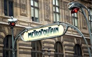 A sign outsite a Metro station, Paris