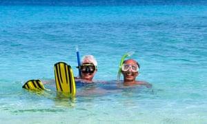 pensioners wearing snorkels