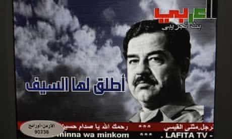 Image of Saddam Hussein on al-Lafeta TV channel