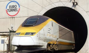 A Eurostar train emerges from the Eurotunnel