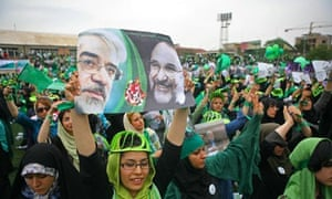 Supporters of presidential candidate for Iran, Mir Hossein Mousavi, gather during a campaign rally