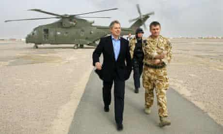 Tony Blair arriving at Basra airport in Iraq
