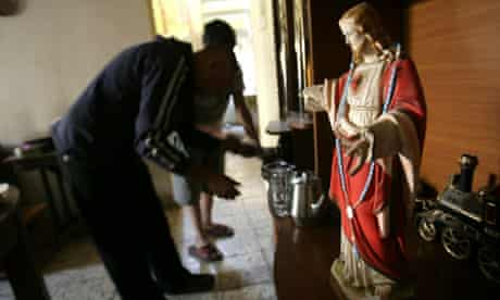 Iraqi Christian home with a statue of Jesus