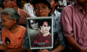 Supporters of Aung San Suu Kyi outside the National League for Democracy HQ in Rangoon