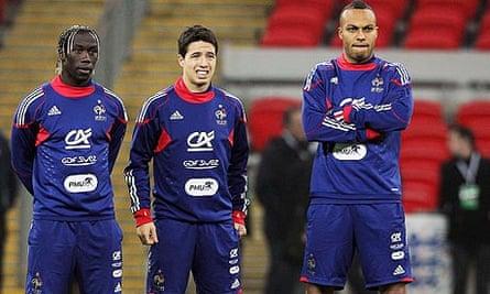 France's Bacary Sagna, Samir Nasri and Younes Kaboul