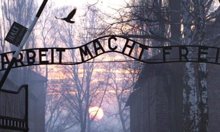 Auschwitz death camp sign